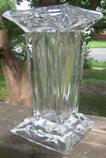 "Vintage clear lead CRYSTAL VASE square modern art deco 7"" tall heavy perfect WOW"