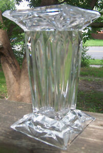"""Vintage clear lead CRYSTAL VASE square modern art deco 7"""" tall heavy perfect WOW"""