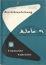 VW KÄFER Betriebsanleitung 1954 1955 Bedienungsanleitung CABRIOLET LIMOUSINE BA
