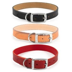 Ancol Classic Dog Collar Puppy Handsewn Strong Quality Leather in Black Red Tan