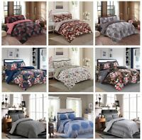 Luxury Style Poly Cotton Reversible 4Pcs Duvet Set with Fitted Sheet Pillow Case