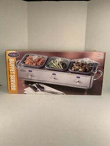 Nostalgia Electrics Deluxe Stainless Steel Buffet Server W/ Temp Controls,3 Tray