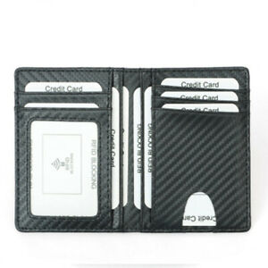Carbon Fiber Leather Slim ID Card Holder RFID Blocking Men's Wallet Cover Case