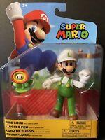 Jakks Pacific Super Mario Figure 4 Inch Fire Luigi Brand New