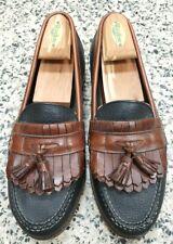 H.S. Trask Mens Sz 9.5 M Black Brown Leather Loafers 2-Tone Slip On Kilt Tassel