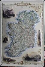 IRISH MAP Vintage Advert Embossed Metal Sign