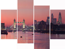 London Cityscape Multi 4 Panel Canvas Picture Super Sunset City Wall Art Prints