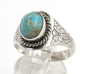 Turquoise Womens Girls Ring Sterling Silver Floral Engraved Shoulders Size S 3/4