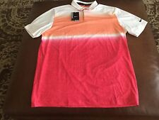 Nike Golf men's  white/orange/red  dri-fit polo shirt, size L, NWT, MSRP$80.00