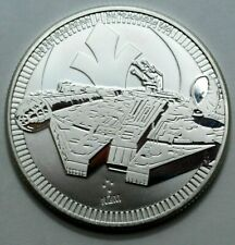 2021 MILLENNIUM FALCON 1 Oz 999SILVER $2 NIUE STARWARS Coin Round NZM,No Reserve