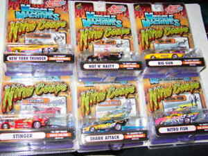 MUSCLE MACHINES 2003 SUPER CHEVY NITRO COUPE NHRA SET OF 6 RUBBER TIRE GASSERS