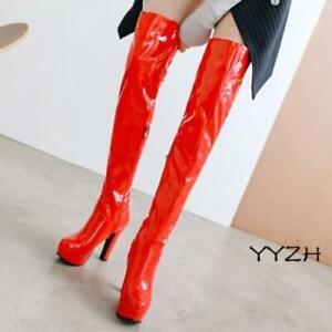 Women's Over The Knee Block Heel Ladies Thigh High Long Winter Boots Winter Plus