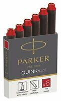 Parker Quink Fountain Pen Refills, Shorts Cartridges, Red Ink, Pack of 6