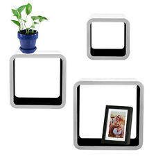 3pc Cozee Square Wood Floating Shelf Set Black & White Wall Mounted Cube Shelves