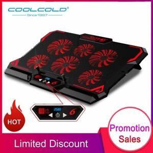 Laptop Cooling Pad Cooler 6 Fan Gaming Stand Adjustable Silent USB Port Notebook