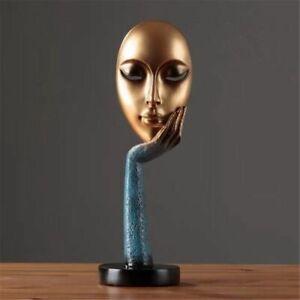 Modern Human Meditators Abstract Lady Face Resin Statues Sculpture Art Decor