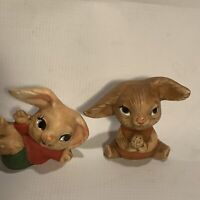 Vintage Norleans Bunny Rabbit Figurines Japan Set Of Two Kitsch Home Decor Cute