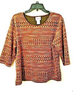 BON WORTH Womens Brown Black Blouse Geometric Textured Top Size MP