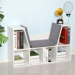 White Reading Seat Bench Bookcase Kids Toys Organizer Chair Bedroom Furniture