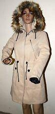 Victorias Secret Moda New hooded beige Coat w detachable fur hood sz 6 Jacket