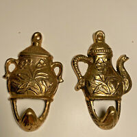 Vintage Brass Hooks Teapot Sugar Bowl Gold Metal Kitchen Towel Tea Pot Flower