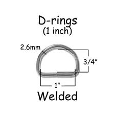 10 Dee Rings - 1 Inch (25mm) Welded Nickel Plated Steel 10 gauge