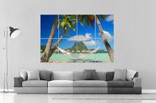 TROPICAL BEACH PLAGE PALMIER HAMAC  Wall Art Poster A0 Large print