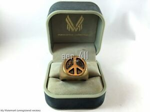 Classic Peace Symbol Sign Brass ring Handmade size 7-12 black and gold