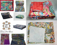 Vintage Kantha Quilts Paisley Bedding Cotton Blanket Bed Cover Gudari Bedspread