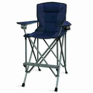 Tall Folding Director Chair Outdoors for Camping Home Patio Portable Sturdy Blue