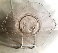 "Lancaster Glass Rose Pink Dart 11"" Handled Sandwich Plate"