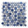 "Blue Marble Metallic Aluminum 1"" Hexagon Mosaic Tile Kitchen Wall Backsplash"
