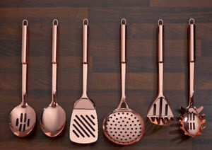 New  6 Piece Copper Rose Gold Plated Kitchen Utensil Tool Set