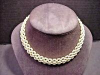 "Monet Choker Necklace Vintage Wide Gold Tone Textured Links 16.25"""