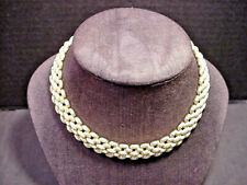 Monet Choker Necklace Vintage Wide Gold Tone Textured Links 16.25""