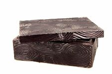 Natori Wood Grain Decorative Metal Box Brown Aluminum Home Decor msrp $130