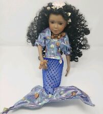 "Hand Decorated Mermaid Porcelain Doll Black African-American Seashells 10"" x 9"""