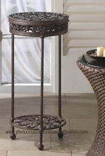 NEW! LOVELY FLOURISHES SET IN CAST IRON ROUND PLANT STAND RET.$139.