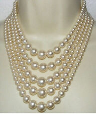 5strands AAA++ 8-12mm natural round south sea white pearl necklace 17-22inch