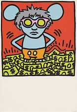 KEITH HARING, ANDY MOUSE POSTCARD, RARE POSTCARD FROM THE 80'S