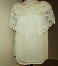 NEW PINKY SIZE XS BEIGE SHEER CHIFFON FLORAL LACE DETAIL SLEEVELESS 2-PCE TOP