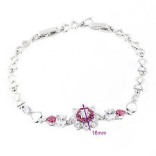FIN003-Fashion Red Ruby White Crystal Flower Bracelet Sterling silver Jewelry