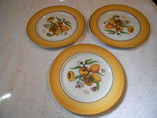 3 - St. Limoges France Luncheon Plates with Gold Gilded Rim Peaches - Excellent