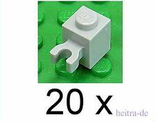 LEGO - 20 x Stein 1x1 hellgrau mit Clip waagerecht / Halter / 30241 NEUWARE
