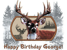 DEER Buck Hunting Edible Icing Image Birthday CAKE Topper