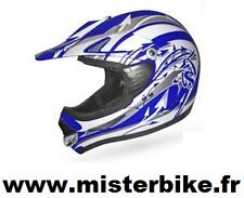 CASQUE Moto CROSS  Quad Bleu/BLANC taille:  L  ( 59/60 cm )  Homologué neuf