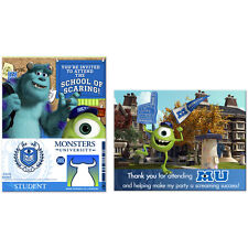 Monsters University Birthday Party Supplies Invitations and Thank You Cards