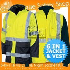 6-IN-1 HIVIS SAFETY JACKET & VEST DAY & NIGHT WORK WEAR