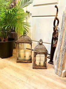 Metal Cage Lantern Vintage Candle Holder Victorian Set Of 2 Oxidized Bronze