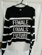 FEMALE EQUALS FUTURE H&M DIVIDED WOMENS BLACK WHITE STRIPED JUMPER UK SIZE 10